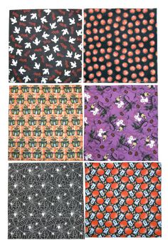 Dress up your house or your wardrobe for Halloween with these spooky holiday print bandanas. They make the perfect accessory for a party or house decor. The purple ghosts and the miniature pumpkin bandanas are glow in the dark for extra fun.