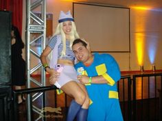 Me as Izumi / Zoe Orimoto and my husband as JP from Digimon Frontier.