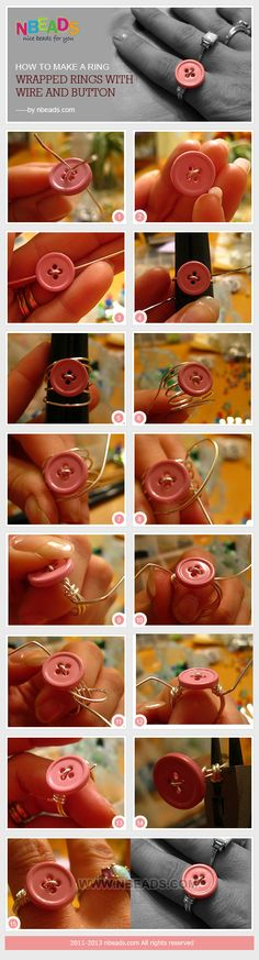 Rings Selber Machen how to make a ring - wrapped rings with wire and button (I'd wrap through all the holes in the button) - Wire Crafts, Jewelry Crafts, Handmade Jewelry, Metal Jewelry, Jewelry Rings, How To Make Rings, Diy Rings, Wire Wrapped Rings, Button Crafts