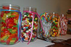 cute sweet 16 mason jar candy holder at candy bar