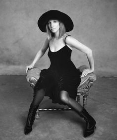 Love the hat with the dress and the boots!  Cool style.