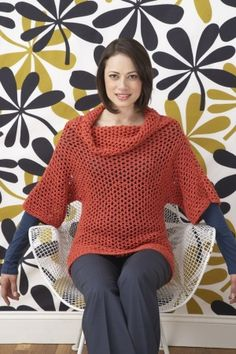 This Cotton-Ease crochet pullover is great to wear over a tank top when the office A/C is a tad too chilly.