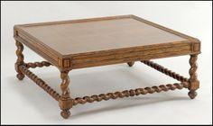 Baker Carved Oak Square Top Coffee Table: Lot 132-1132 #oak #coffeetable #baker #antique