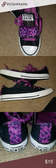 Purple & black leopard converse Used girls converse. Some wear on soles shown in pictures. Need a good wipe down by for but still have life. Tounge of shoe folds down Converse Shoes Sneakers