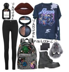 """""""Poison"""" by karilooks ❤ liked on Polyvore featuring M.i.h Jeans, Marc Jacobs, Dr. Martens, Lime Crime, Laura Geller, L'Artisan Parfumeur and Universal"""