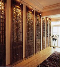 series of wooden panels with carved detail