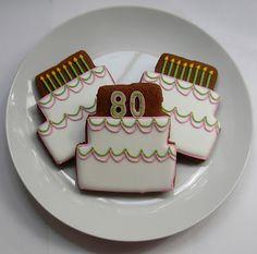 80th Birthday Cake Cookies by Sweet Melissa's Cookies