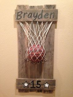 Basketball pallet art more (this even has his name and his number! Basketball Nursery, Basketball Crafts, Basketball Decorations, Basketball Party, Basketball Hoop, Baby Boy Basketball, Basketball Room Decor, Basketball Drawings, Basketball Videos