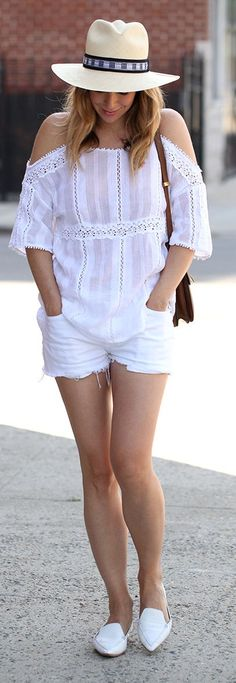 Everything White Casual Romantic Outfit by Brooklyn Blonde