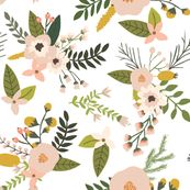 sprigs and blooms // blush // oversized wallpaper - ivieclothco - Spoonflower