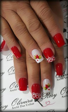 Nails Design Red 2017 39 New Ideas Red Gel Nails, Hot Nails, Winter Nails, Summer Nails, Hawaiian Nails, Red Nail Designs, French Tip Nails, Cute Nail Art, Flower Nails