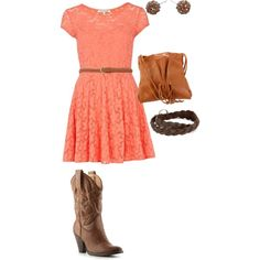 Coral lace dress with cowgirl boots. Now that's my kinda outfit! Cute Country Girl, Country Girls Outfits, Cowgirl Outfits, Cowgirl Boots, Country Style, Cute Fashion, Girl Fashion, Fashion Outfits, Coral Lace Dresses