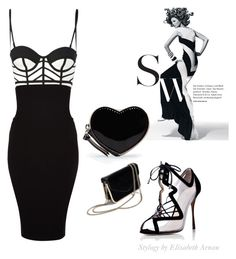 """""""BLACK & WHITE SOPHISTICATION"""" by elizabetharnau ❤ liked on Polyvore featuring Nicholas Kirkwood, sass & bide, Wolford, GUESS by Marciano and MANGO"""