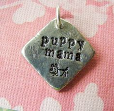 Rustic Pewter Hand Stamped Pendant Puppy Mama Dog by meiguidesigns