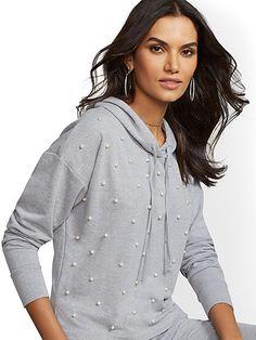 573ab36acc852 NY C   Soho Street - Grey Faux-Pearl Hooded Sweatshirt Workout Tops
