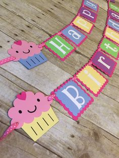 ***To ensure a timely processing time, please provide the date you need your order received by in the note to seller box at check-out.***     This banner will make a great addition to any cupcake themed birthday party! Banner reads Happy Birthday. Each square measures 3-1/2 x 3-1/2 and secured together with a pink and while polka dot ribbon. Banner has hot pink squares with a multicolored square top layer, white letters and approximately 4 cupcakes on each end or it can be customized with…