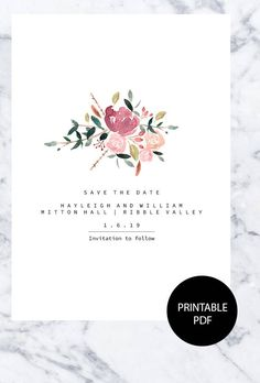 Editable Save the date by PaperandBell on Etsy https://www.etsy.com/uk/listing/588559737/editable-save-the-date