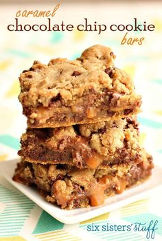 Caramel Chocolate Chip Cookie Bars – Six Sisters' Stuff Turned out great. Reduce bake time by 2 minutes