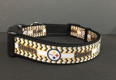 Pittsburgh Steelers Dog Collar Chevron Pattern by MeanMamaDesigns