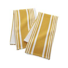 Set of 2 Cuisine Stripe Yellow Dish Towels | Crate and Barrel