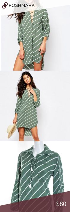 Faithfull The Brand Walker Shirt Dress Faithfull the Brand Walker Shirt Dress in Pablo green, a beautiful moss green with ivory stripes, so soft 100% rayon, lace up neckline with Tassel tie, roll up sleeves with button back cuff, stepped hi-low hem, and chest pocket detail! Fantastic casual beach dress or chic Coverup! EUC, like new no signs of wear! Oversized flowy fit could work for anyone XS-M. Faithfull the Brand Dresses