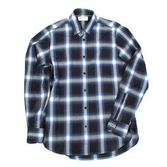 SAINT LAURENT SHIRT - 36 / 14 - EXTRA SMALL - BLUE & BLACK PLAID BUTTON UP - XS