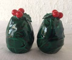 Vintage Lefton Holly Salt and Pepper Shakers 1960s