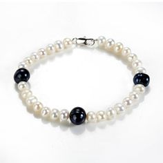 White and Black Freshwater Cultured Pearl Strand Bracelet Simple Beaded Jewelry for Women - Freshwater Pearl Bracelet - Bracelets Sea Glass Jewelry, Pearl Jewelry, Beaded Jewelry, Beaded Bracelets, Pearl Necklaces, Jewellery, Freshwater Pearl Bracelet, Strand Bracelet, Diamond Bracelets