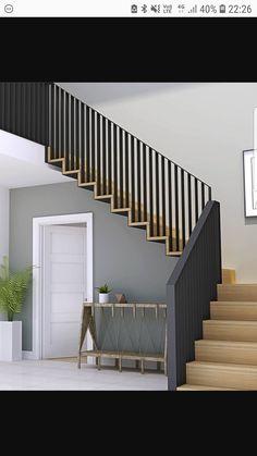 47 most popular modern house stairs design models 1 Staircase Railing Design, Interior Stair Railing, Modern Stair Railing, Home Stairs Design, Stair Handrail, Modern Stairs, Railing Ideas, Railings For Stairs, Veranda Design