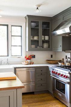 Gray Kitchen. Gray Kitchen Cabinets. #GrayKitchen