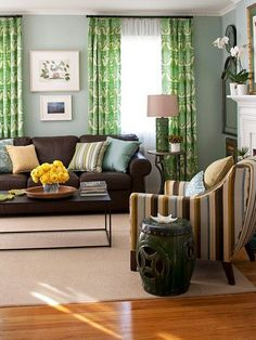 brown and blue living room | the best living room paint color
