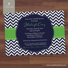 Bridal Shower Invitation or Baby Shower Invitation  - Preppy Chevron - Modern - Navy, Blue, Green, Apple, Kelly, Lime (DIY Printable)