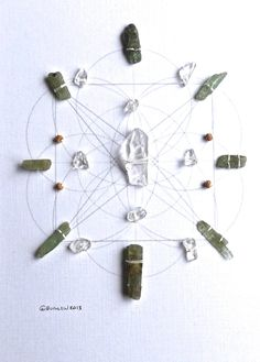 CONNECT WITH NATURE  framed sacred geometry crystal grid::  green kyanite, quartz, wood