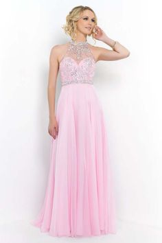 Crystal Pink Sparkly Beaded Illusion High Neck Blush 9990 Long Dress