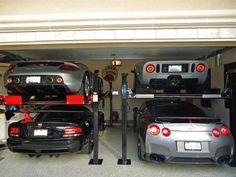 Maximize your garage space. Garage Car Lift, Car Shed, Dream Car Garage, Garage Shop, Garage House, Car Storage, Garage Storage, Garage Organization, Garage Pictures