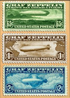 The US Zeppelin Stamps, issued in 1930 specifically for mail transport by the German run Graf Zeppelin --- which regularly carried international mail to destinations on its route. (Sc#s C13, C14 & C15)