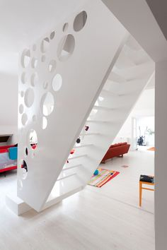 stairs - looks too steep, but I love the white glossy w/ circles