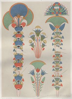 Atlas of Egyptian Art Stylised bouquets painted in tombs during the and Dynasties. Wiki: map and history of ancient. Motifs Art Nouveau, Azulejos Art Nouveau, Design Art Nouveau, Art Design, Art And Illustration, Ancient Egypt Art, Ancient Aliens, Ancient Artifacts, Ancient Greece