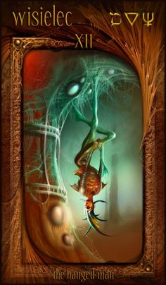 The Hanged Man in a reading represents a period of rest before activity, and shows the bringing of things to a halt, or to place something in suspension. You may feel as though you are engulfed or powerless in current situations and are unable to do anything constructive, but go with the flow and submit. You may even feel compelled to sacrifice a goal or desire.  {The Hanged Man ~ Maroon Tarot}