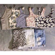 shorts shirt t-shirt tank top floral pattern high waisted shorts all the crop tops
