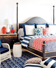 Navy + White + Coral Bedroom | Tortoise Shell Bed | Bedrooms...I like the color combo!