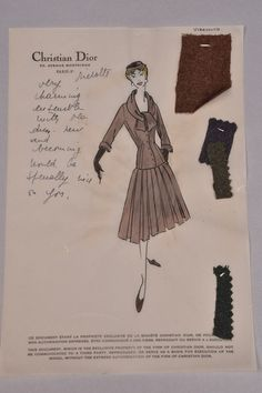Christian Dior vellum stationery, for Virevolte day dress with personal note to client Brenda Schulman, with three swatches attached