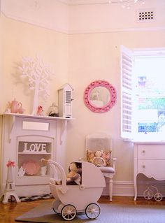 girls shabby chic french bedroom vintage pastel pink pram shutters