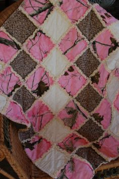 Pink Realtree Camo Rag Baby Quilt Cotton Flannel Girl. $56.00, via Etsy.