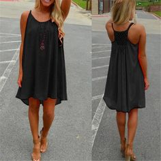 Cheap vestidos plus, Buy Quality dress vestidos directly from China beach party dress Suppliers: Women Sexy Summer Strap Chiffon Dress 2017 Casual Sleeveless Back Mesh Hole See Through Beach Party Dresses Vestidos Plus Size Sexy Dresses, Short Beach Dresses, Casual Party Dresses, Short Mini Dress, Mini Dresses, Dress Long, Summer Dresses 2017, 2017 Summer, Spring Summer