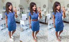 I love a chambray dress and today I'm sharing 3 ways to style it for summer. The dress is on sale for $25 but when you check out they take another 25% off. Summer Dress Outfits, Fall Dresses, Spring Outfits, Cute Dresses, Casual Dresses, Denim Shirt Dress Outfit, Chambray Dress, Cyndi Spivey, Black Tank Dress
