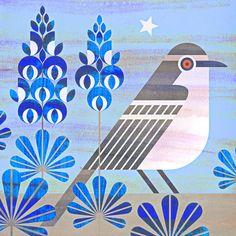 scott partridge - state bird and flower - Texas - Mockingbird and Blue Bonnet