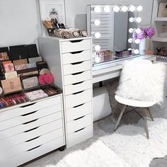 Lazy Sundays .- IKEA Alex 6 Drawer unit- IKEA Stool- IKEA Mirror- Officeworks student desk.- All acrylic makeup storage @vanitycollections