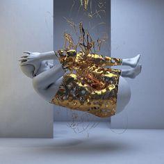 Materialized_v01 // 3 editions (Diasec) by Adam  Martinakis New Media: 3D Sculpting on Aluminium and Glass.  Size: 39.4 H x 39.4 W x 0.4 in  Digital rendering / 3d composition FujiFlex Super Glossy, Diasec Plexi/Alu Dibond 5+3 mm 3 + 1 ap editions  Keywords: martinakis, transformation, gold, human, material