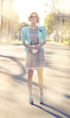 pretty pastel outfit -feminine -mint green-pale pink-gold and gray by ...love Maegan, via Flickr